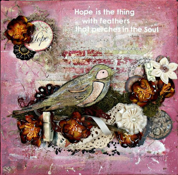 Hope is the thing with Feathers-Canvas  **ScrapThat March kit DT work**