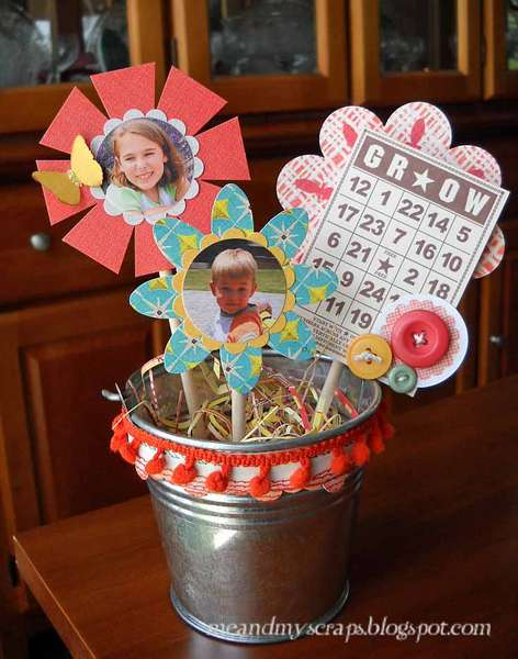 Altered flower pot {Aug Kraft Girl Kits}
