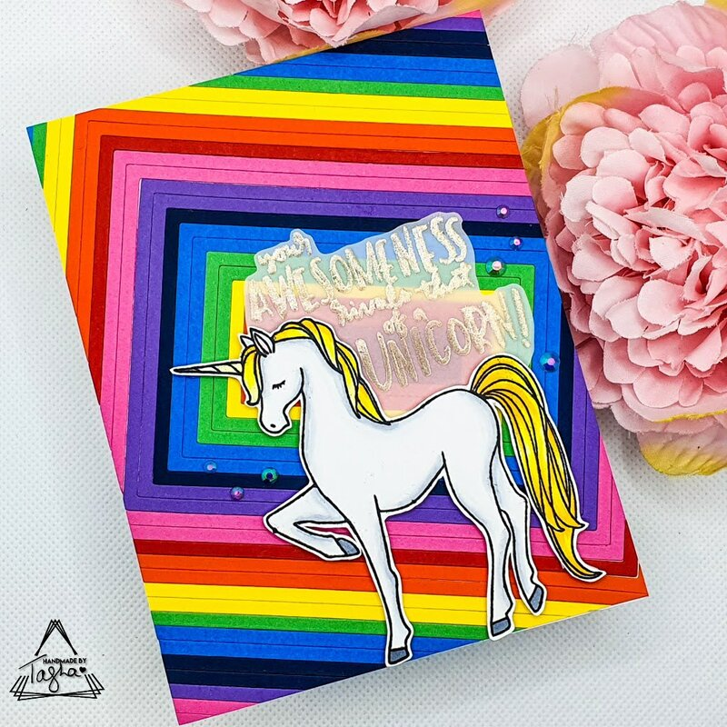 Rainbow Die Cut Inlay   Unicorn Awesomeness