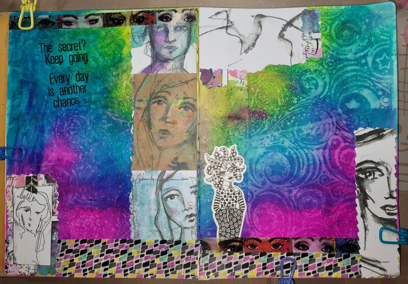 Dylusions and Dina Wakely art journal layout
