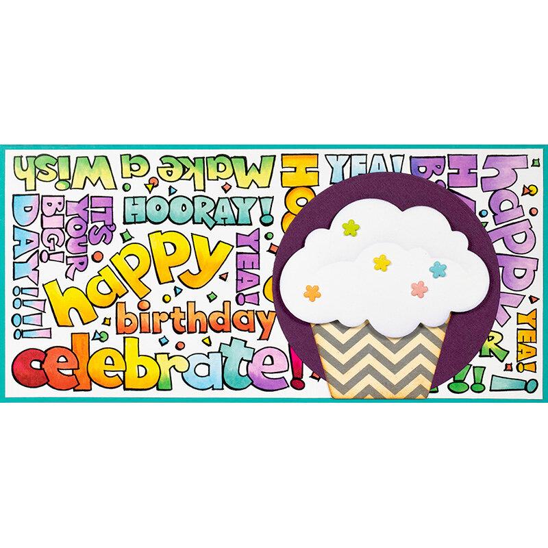 POP Shapes Cupcake Birthday Slim Card