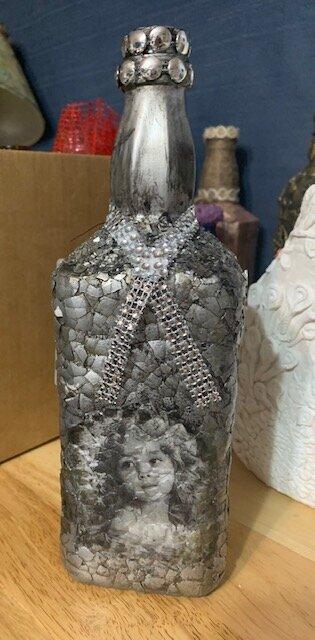 Victorian egg shell decorative bottle