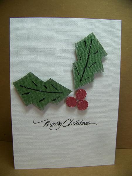 Holly Leaves Christmas Card