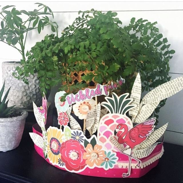 Flamingo Paper Crown or Centerpiece