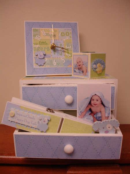Sweet Pea Drawers, Mini Clock, Peg & Block Set