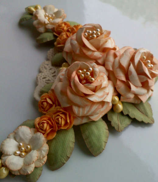 Handmade Paper Flower Spray - Peach and Cream