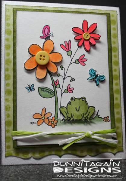 Bullfrog & Butterflies (Designed2Delight Digital Stamp)