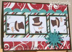 Snowman - red & brown