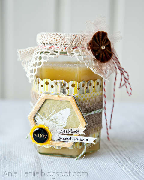 Altered glass jar with honey