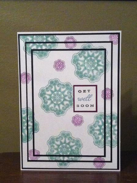 Get Well Soon card- Triple time stamping