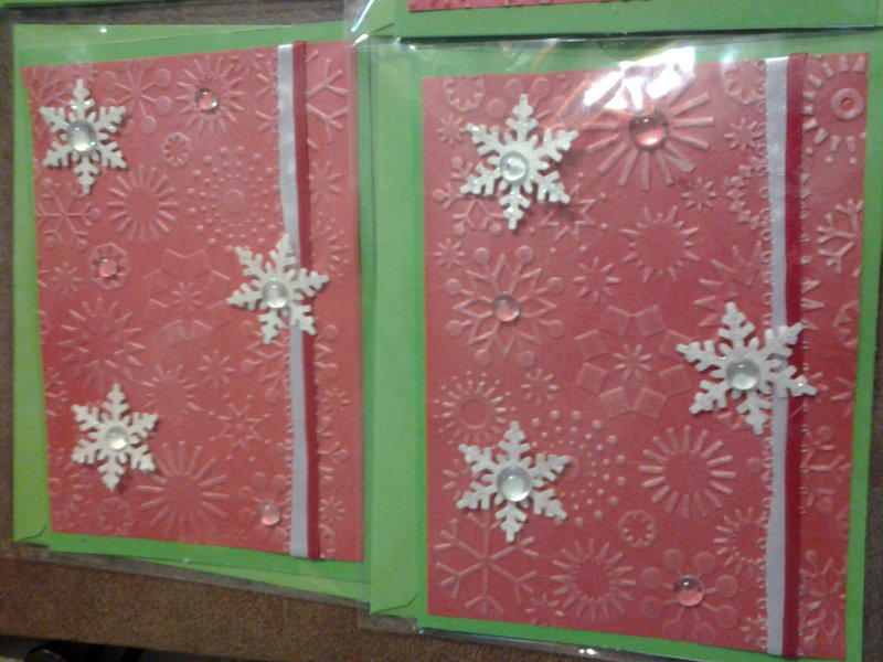 Christmas cards using embossing folder and Cuttlebug