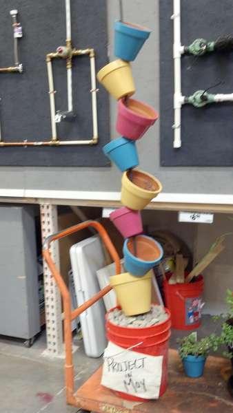 Clay pots on rebar