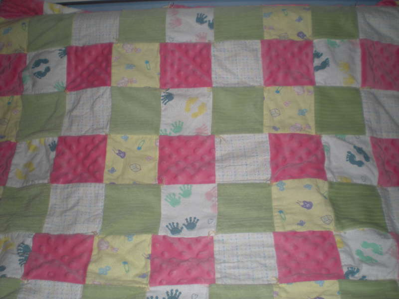 Pink and green flannel quilt