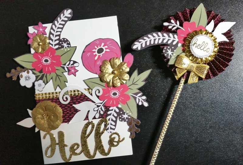 Fussy cut hello card and wand by Monique Fox