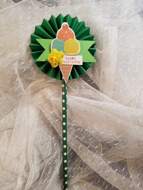 Birthday wand (aka lolipop card) for Paula Davis by Monique Fox
