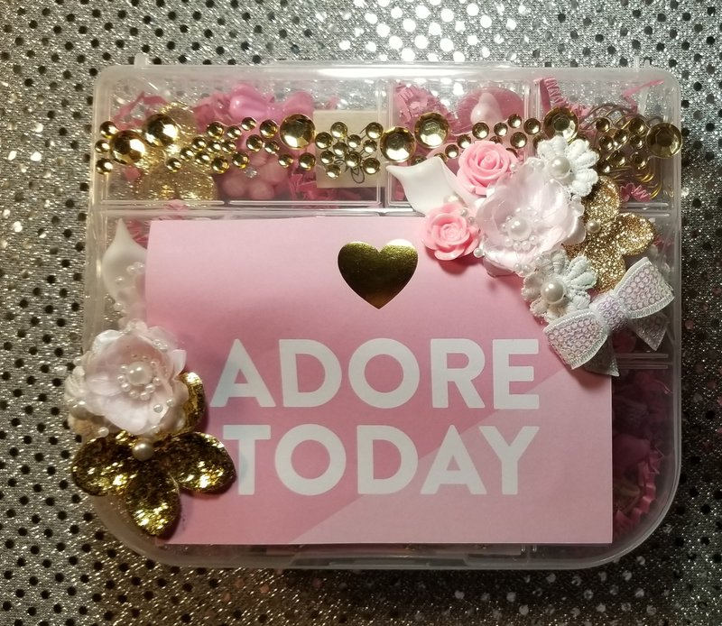 Pink and gold embellishment box by Monique Fox