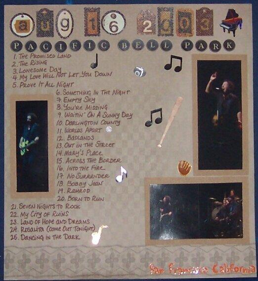 Bruce Springsteen, San Francisco 2003 Setlist Page