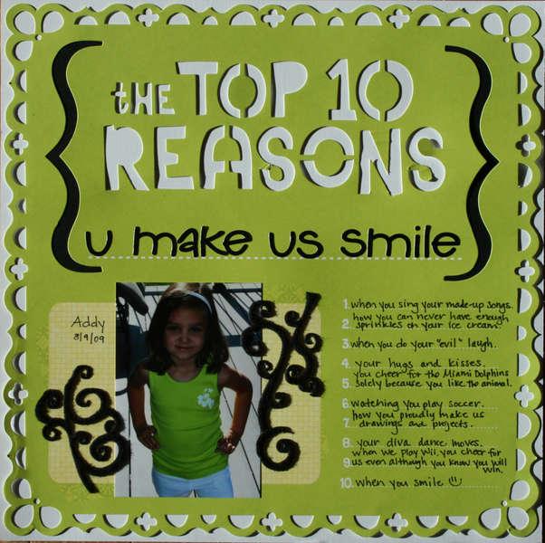 the top 10 reasons u make us smile