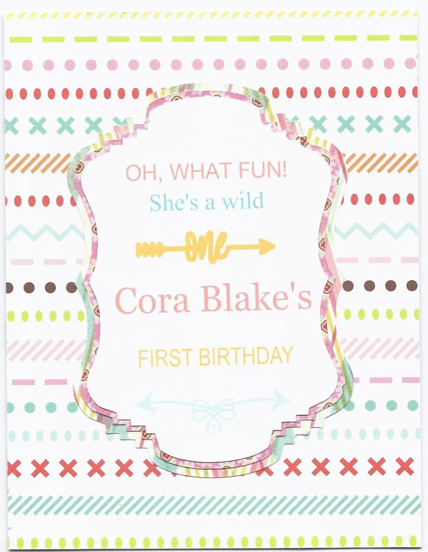 Cora Blake's 1st birthday card