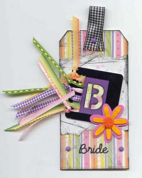 """Stencil Tag: """"B"""" for Bride"""