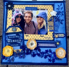 Not all that wander are lost.. Bo Bunny layout with Rose Cafe and Genevieve.  My two daughters and their travel buddy Nick in Eu