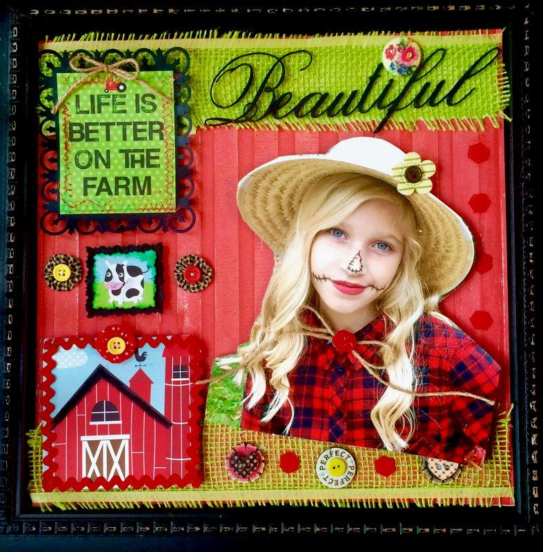 Beautiful Farm Girl--Bella Blvd, Spellbinders, Prima and Basic Grey