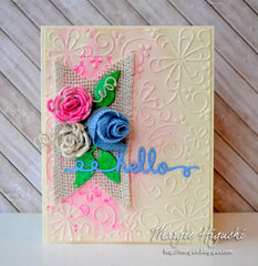 Whimsy Ribbon Flower Hello Card