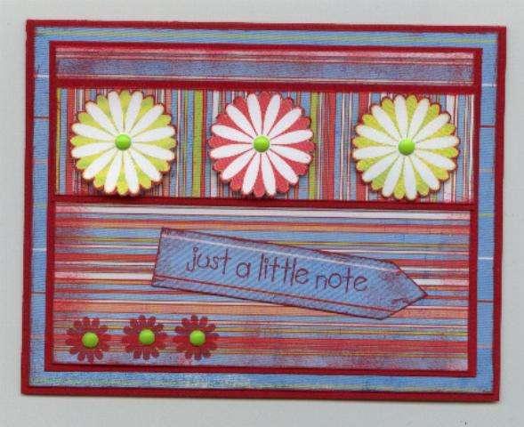 Flowers/stripes notecard