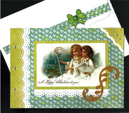 Angels With Harp and Pearls Xmas Card