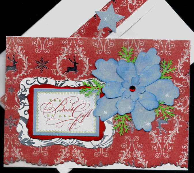 Best Of All Gift And Blue Flower Xmas Card