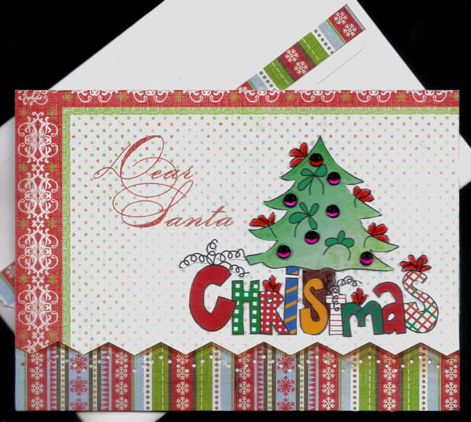 Dear Santa Xmas Tree Card