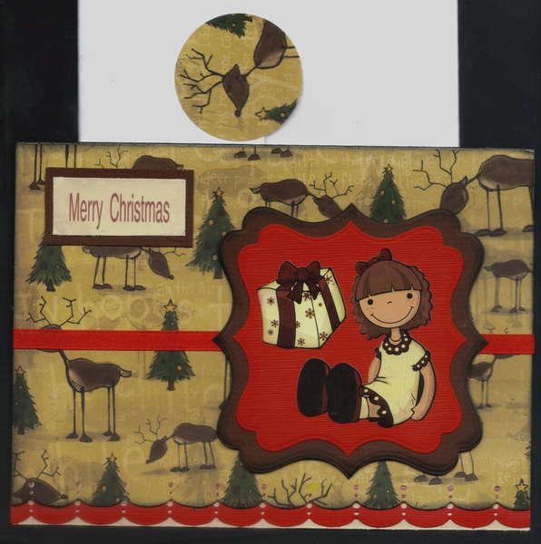 Doll And Gift Box Xmas Card