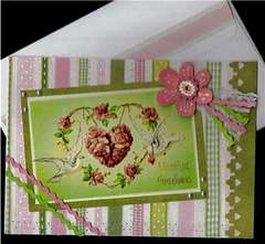 Doves with Floral Heart Valentine