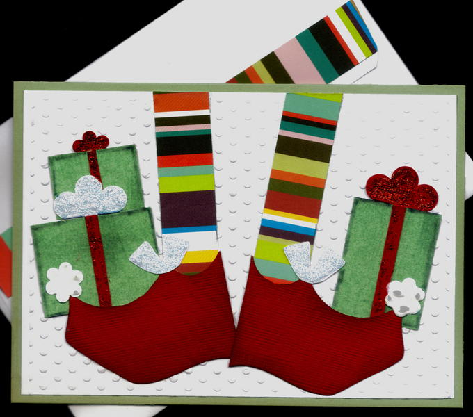Elf Shoes 1 Red Xmas Card