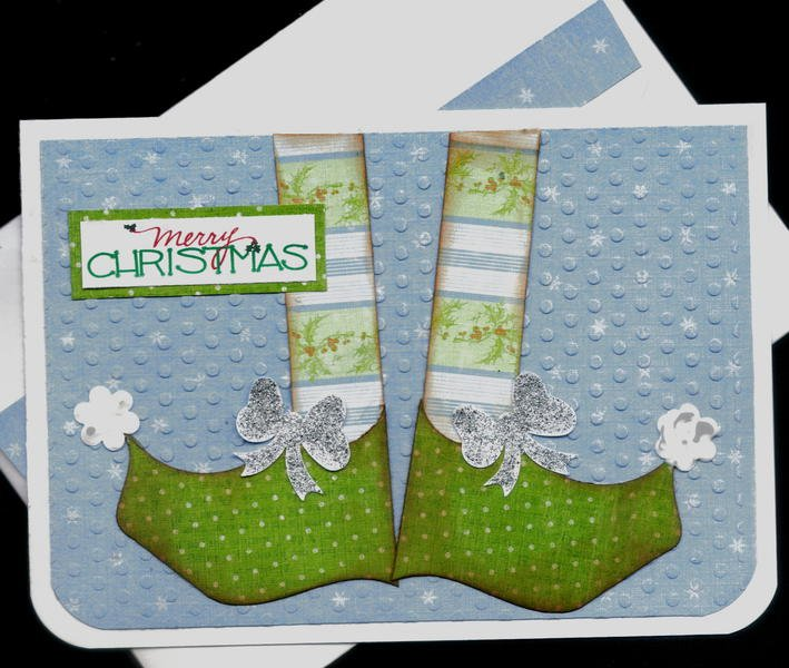 ElfShoes4GreenXmasCard