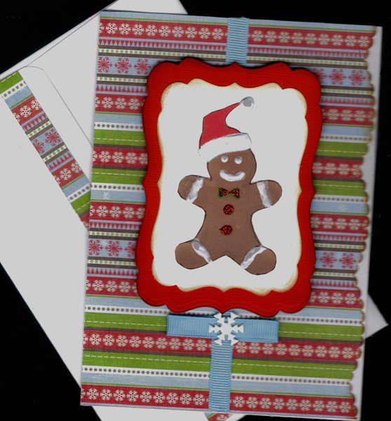 Gingerbread Man On Stripes Xmas Card