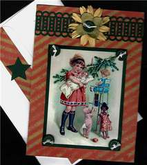 Girl With Dolls Christmas Card