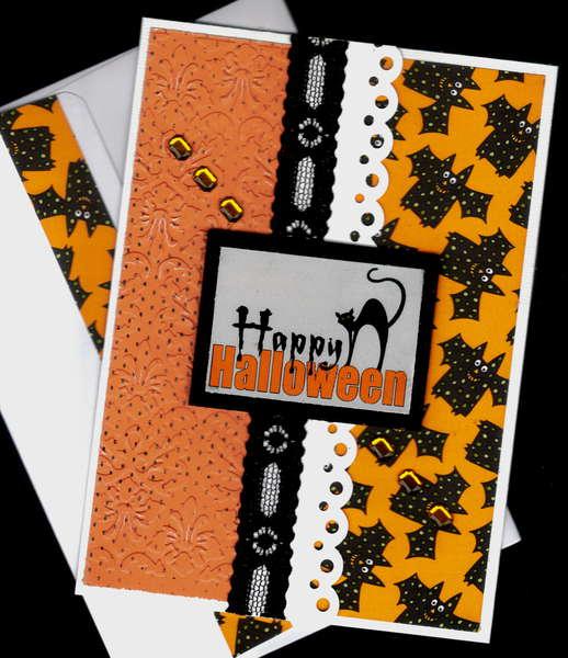 Happy Halloween Cat And Bats Card