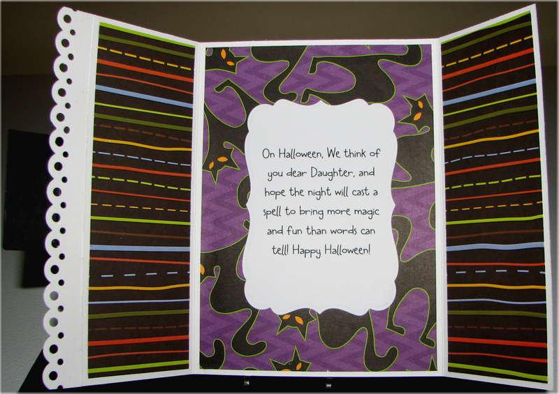 Happy Halloween Cat And Bats Card Inside
