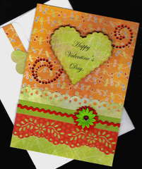 Heart And Flower Valentine Card
