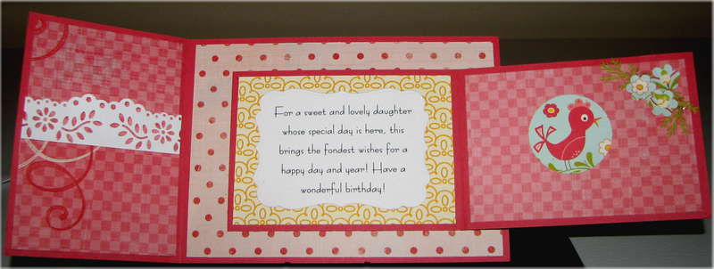 Joy Fold Pink Birds Birthday Card Inside