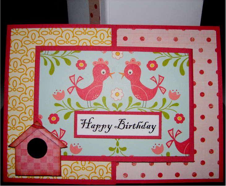 Joy Fold Pink Birds Birthday Card