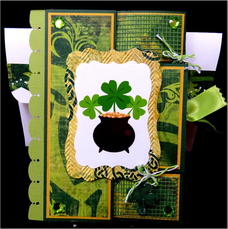 Pot O Gold Shamroks St. Pats Tri Fold Shutter Card