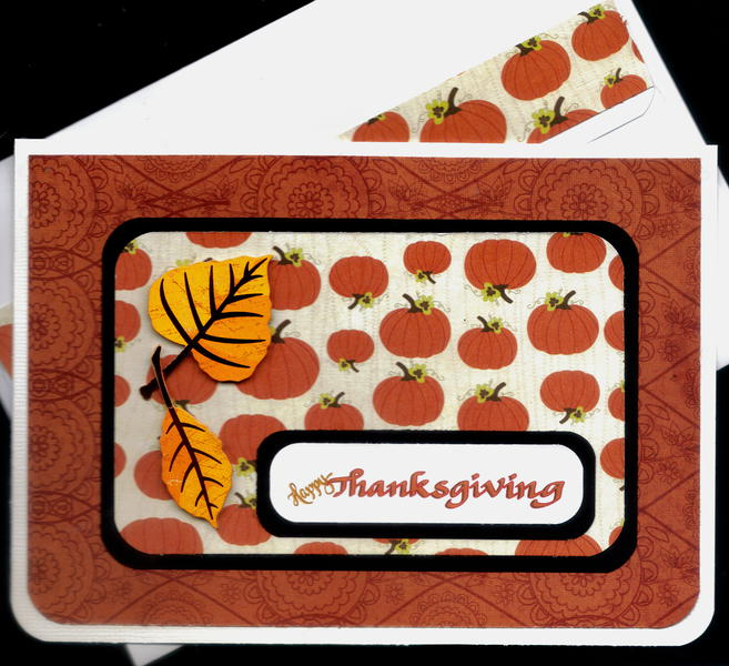 Pumpkins And Leaves Thanksgiving Card