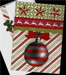 Red Stripe Ornament Xmas Card