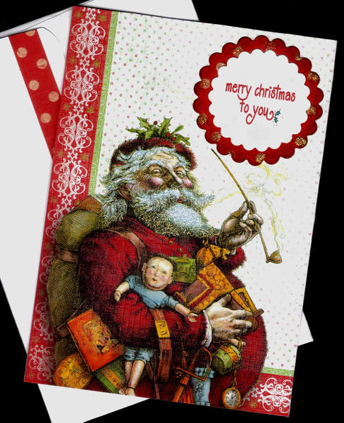 Santa With Pipe And Toys Xmas Card 2