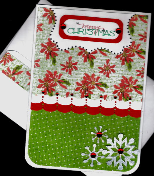 Scallops And Snowflakes Merry Christmas Card 1