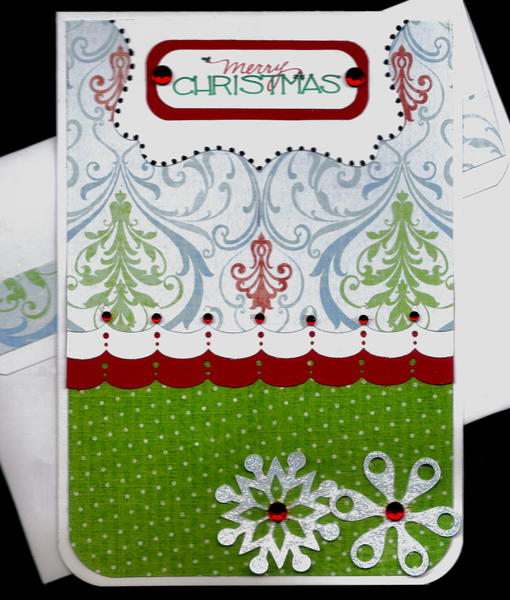 Scallops And Snowflakes Merry Christmas Card 2