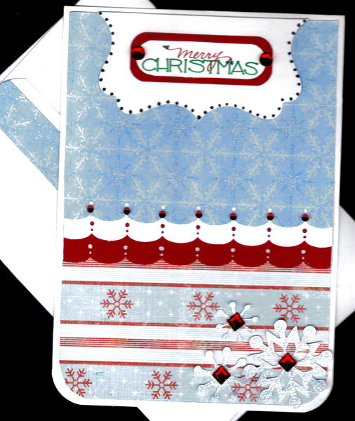 Scallops And Snowflakes Merry Christmas Card 3