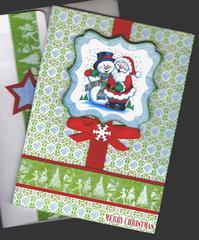 Snowman And Santa Xmas Card
